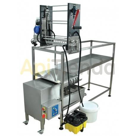 Desoperculadora manual con suministro manual de cuadros y con prensa de opérculos