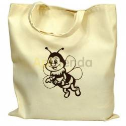 Bolsa de algodón con Abeja color Beige