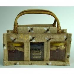 Bolsa de yute pequeña con dibujo de abejas