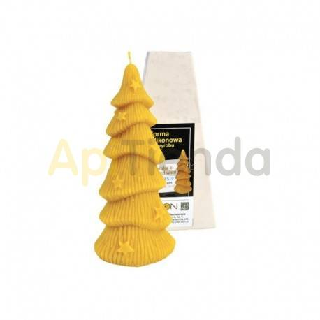 Navidad Molde Abeto con estrellas Molde de silicona para elaborar las velas de cera de abeja Forma de Abeta con estrellas Altu