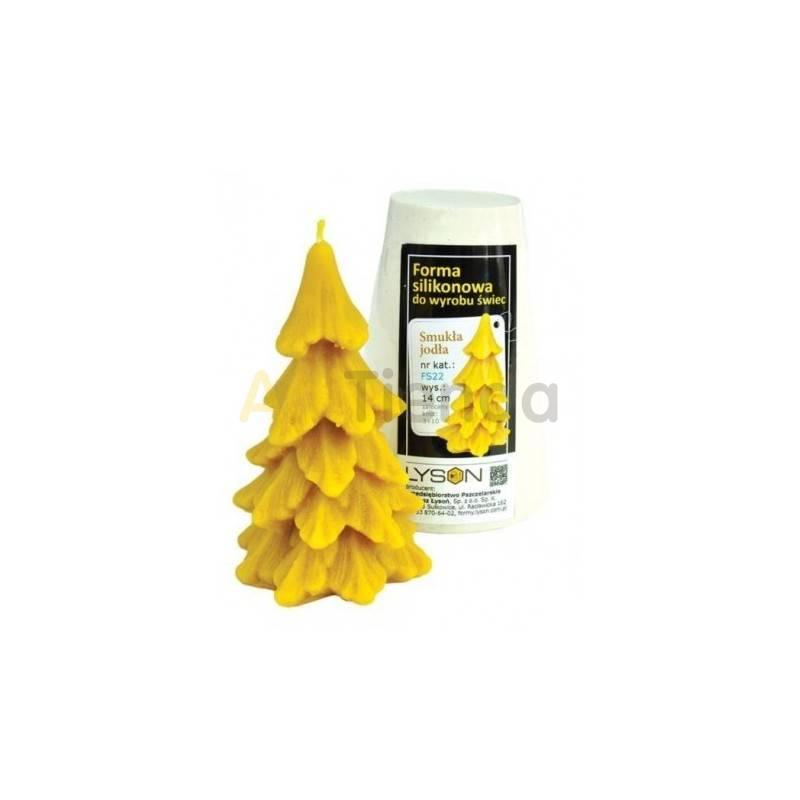 Moldes Molde Abeto fino Molde de silicona para elaborar las velas de cera de abeja Forma de Abeto Altura 140 mm Mecha 3x10 G