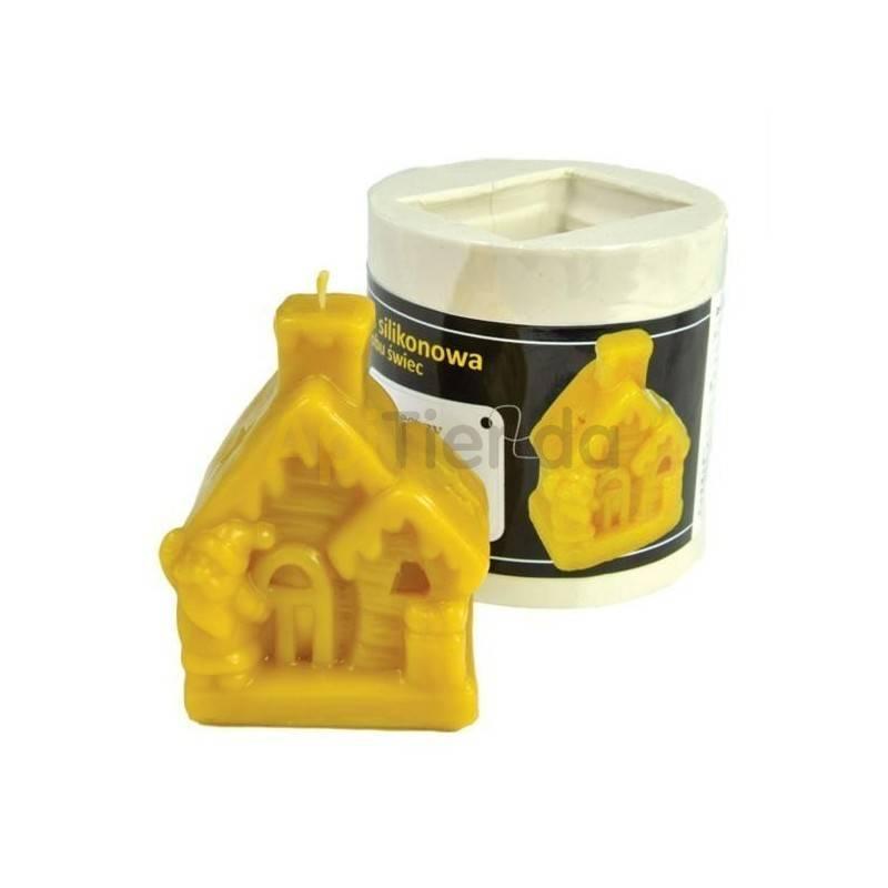 Navidad Molde Casa de Navidad Molde de silicona para elaborar las velas de cera de abeja Molde Casa de Navidad Altura 85 mm M