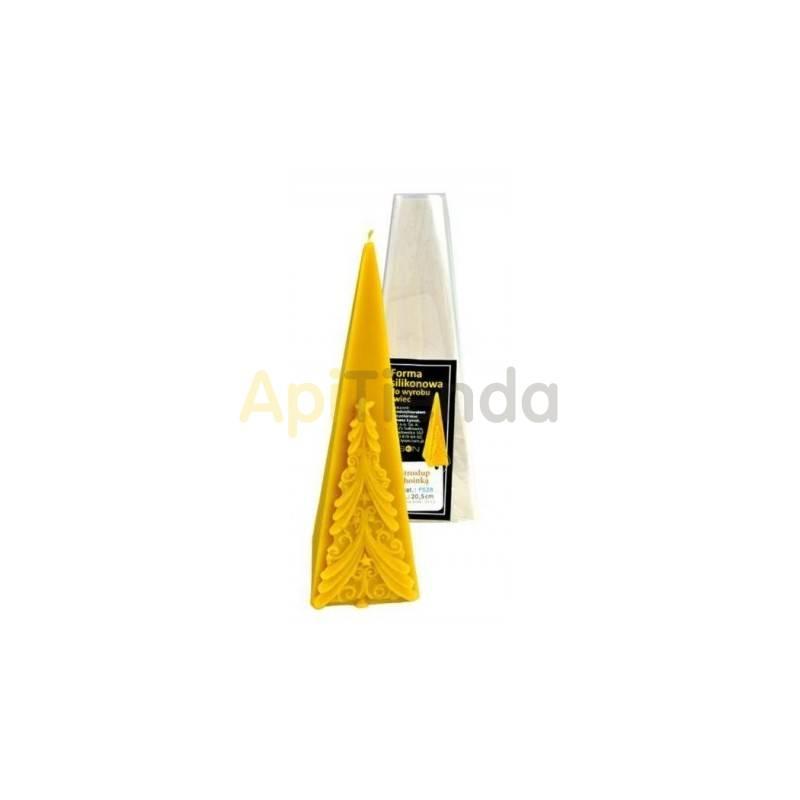 Moldes Molde Pirámide con abeto Molde de silicona para elaborar las velas de cera de abeja Pirámide con abeto Altura 205 mm M