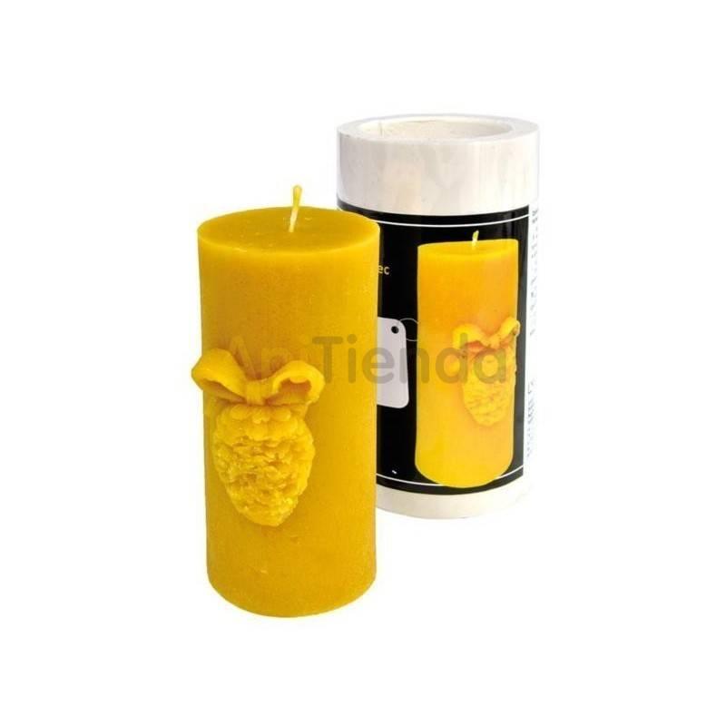 Moldes Molde Cilindro con Piña Molde de silicona para elaborar las velas de cera de abeja Forma - Cilindro con Piña Altura 1
