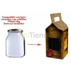 Caja decorativa para un bote de cristal de 1 kg
