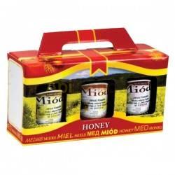 Cajas de cartón Caja decorativa para 3 botes 500g (315 ml) con asa - Pack 10 unidades Caja decorativa para 3 botes de 500g  Es
