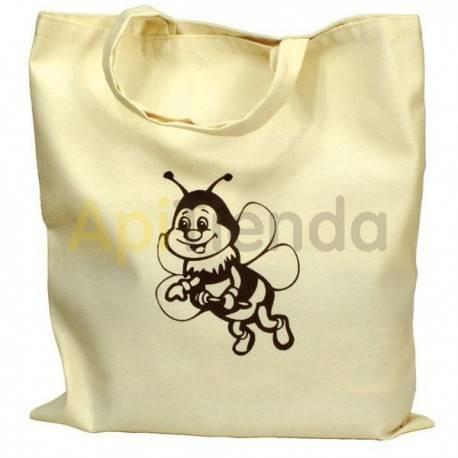 Bolsas de regalo Bolsa de algodón con Abeja color Beige Bolsa ecologica para tarros de miel Fabricada en algodón con dibujo de