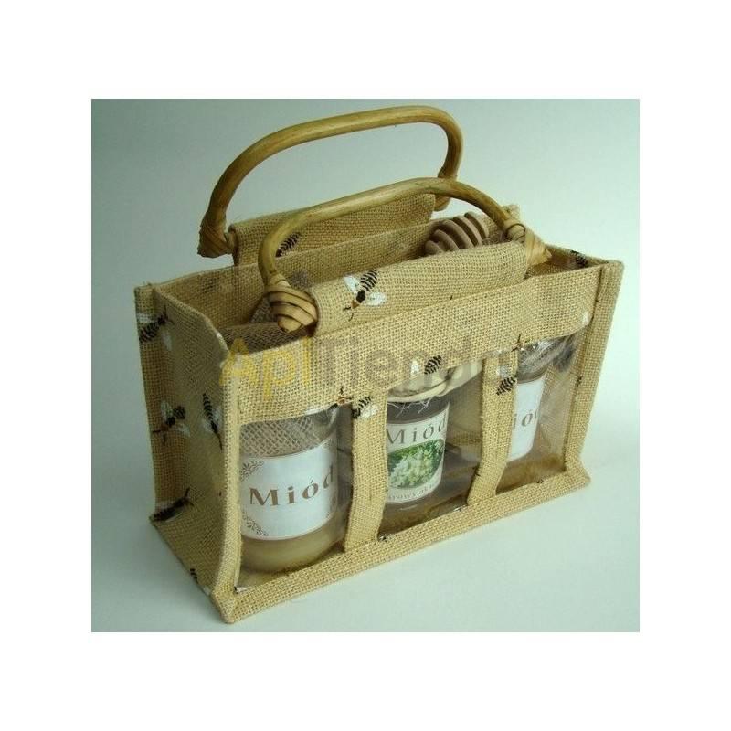 Bolsa de yute grande con dibujo de abejas