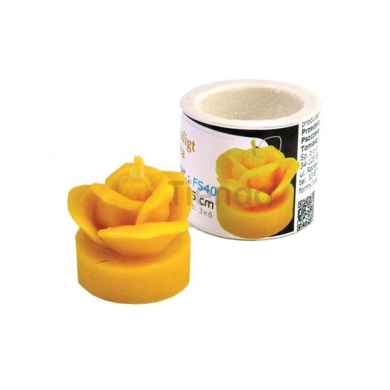 Decoración Molde Rosa con soporte Molde de silicona para elaborar las velas de cera de abeja Forma - Rosa con soporte altura