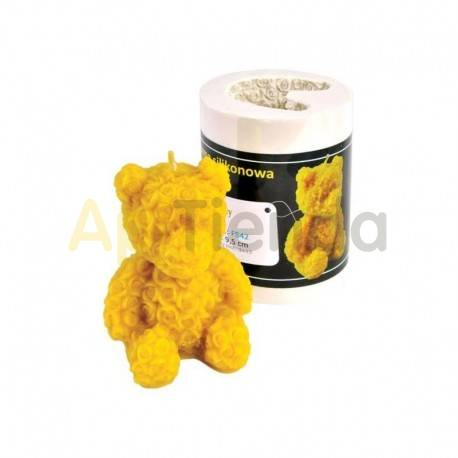 Moldes Molde Oso de corazones Molde de silicona para elaborar las velas de cera de abeja Forma - Oso altura aprox. 95 mm Me