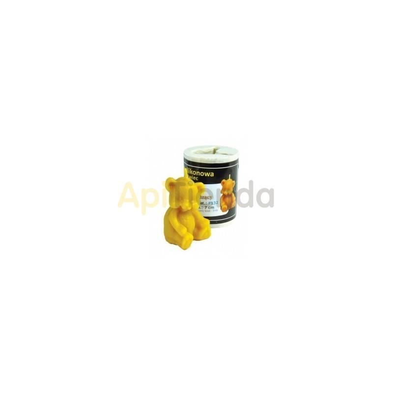 Moldes Molde oso sentado Molde de silicona para elaborar velas de cera de abejas Altura de vela 70mm Mecha recomendada 3x6 Ga