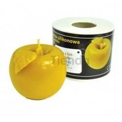 Moldes Molde Manzana con hoja, pequeña Molde de silicona para elaborar las velas de cera de abeja Manzana con hoja, pequeña Al