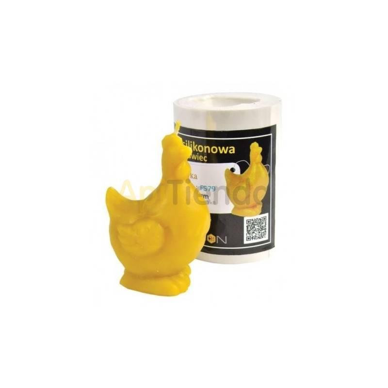 Moldes Molde Gallina, pequeña Molde de silicona para elaborar las velas de cera de abeja Gallina Altura 90 mm Mecha recomenda