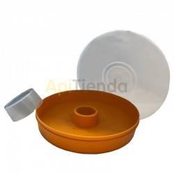 Alimentadores Alimentador amarillo, redondo 2KG Alimentador redondo fabricado en plástico con capacidad para 2kg de alimento o j