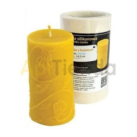 Moldes Molde vela cilindro con flores Molde de silicona para elaborar las velas de cera de abeja. Molde Cilindro con flores Al