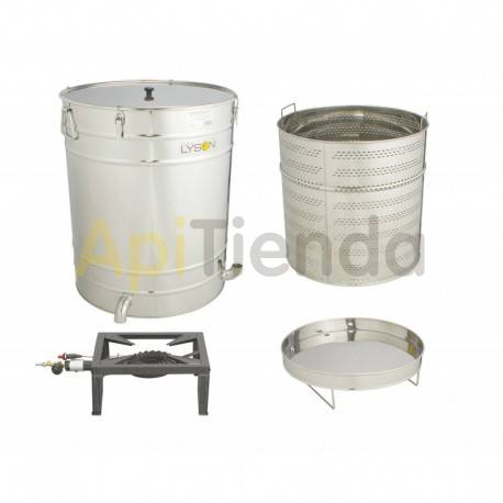 Fundidoras de cera Caldera redonda de 100L, para hornillo de gas. Caldera o fundidora de cera, con capacidad de 100 litros, fabr