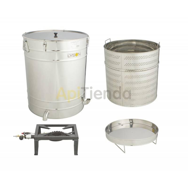 Fundidoras de cera Caldera redonda de 200L Caldera o fundidora de cera, fabricada en acero inoxidable y con filtro perforado de