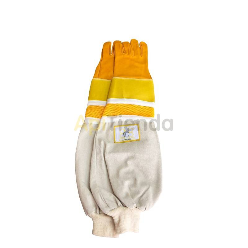 Guantes Guantes de cuero ventilados con protección mod.3 -amarillos Guantes de cuero de alta calidad, ventilados, con manguitos