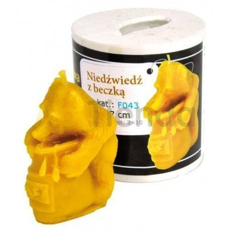 Moldes Molde oso abrazando un barril    Molde de silicona para elaborar velas de cera Forma - oso abrazando un barril Alt