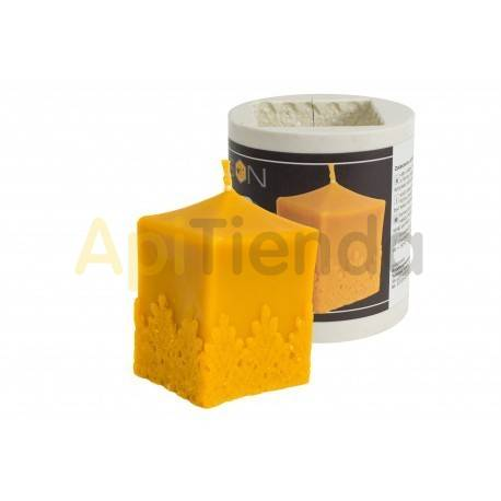 Moldes Molde cubo con lazo            Molde de silicona para elaborar velas de cera Forma - cubo con lazo Altura
