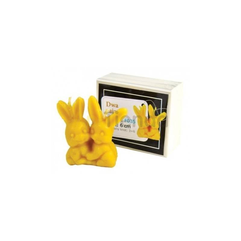 Moldes Molde dos pequeñas liebres  Molde de silicona para elaborar las velas de cera de abeja Forma - dos pequeñas liebres A