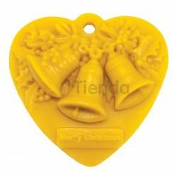 Heart mold with bells, Silicone mold to make wax candlesShape - heart with bellsHeight approx. 80mmSpending 40g wax, Christmas,