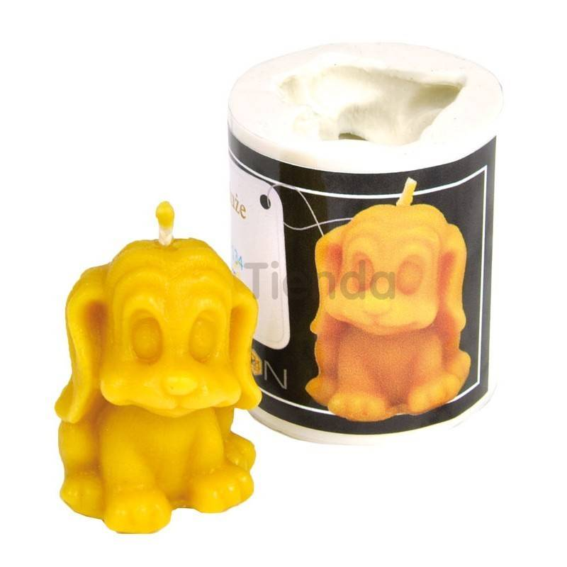 Figuritas Molde perrito    Molde de silicona para elaborar velas de cera Forma - perrito Altura aprox. 60mm Mecha recome