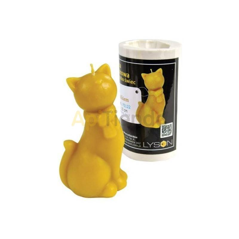 Moldes Molde gato con bufanda    Molde de silicona para elaborar velas de cera Forma - Abejita Altura aprox. 100mm Mecha