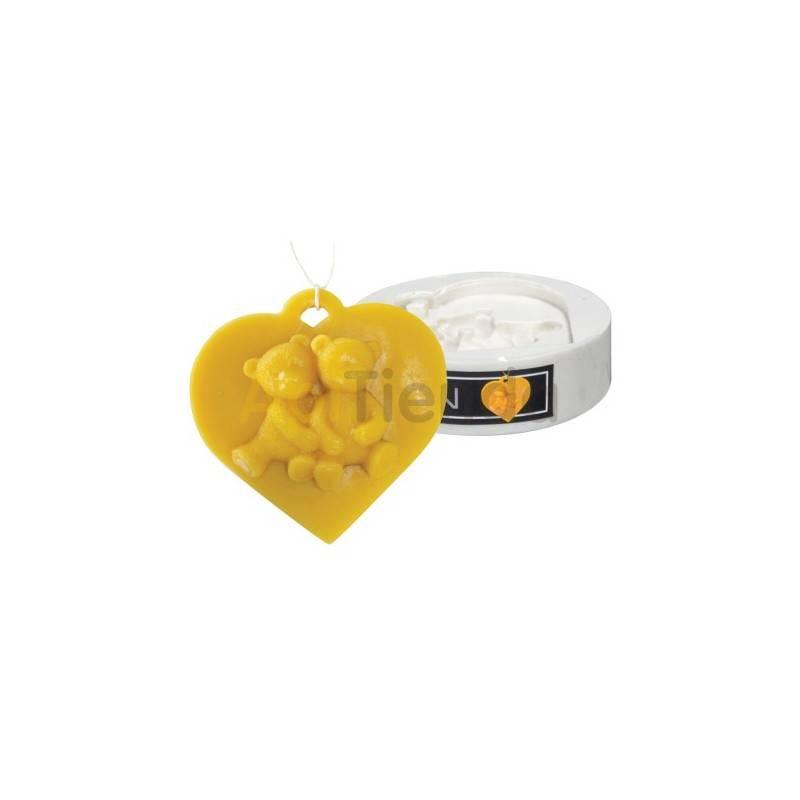 Moldes Molde corazón con osos    Molde de silicona para elaborar velas de cera Altura aprox. 85 mm Gasto 40g de cera