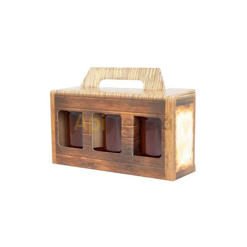 Cajas de cartón Caja decorativa 3 botes de 500g, (10 unidades) Caja decorativa fabricada en cartón. Dimensiones: 230x75x120mm