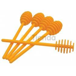 Plastic honey spoon, yellow (5 units), Plastic spoon to collect honey. They are sold in packs of 5 pieces, yellow., Other beekee