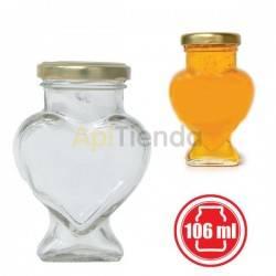 Botes Bote de Cristal Corazón 106ML (PACK 15 ud), Con Tapa El paquete contiene 15 uds, figura CORAZON de 106 ml, con tapas. Cap