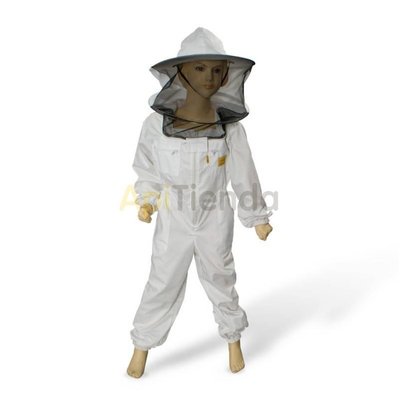Vestuario Buzo apicultor NIÑO Tallas Color blanco. Careta redonda desmontable. Alta seguridad. Tela fuerte, calidad excelente