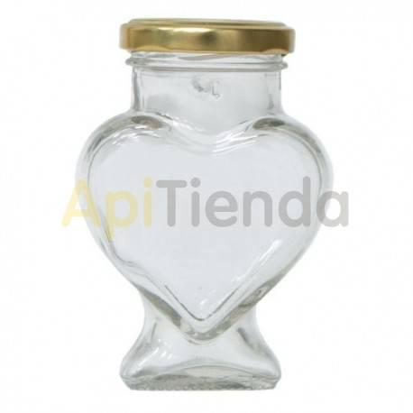 Botes Bote de Cristal Corazón 212 ml (pack 15 uds), con tapa Bote de cristal de 212 ml con tapa incluida Capacidad - 212ml Cap