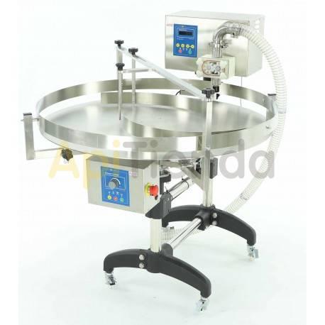 """Envasadoras y bombas de trasiego Envasadora con mesa rotativa y modulo en engranajes cilindricos """"CLASSIC Line"""" La mesa giratori"""