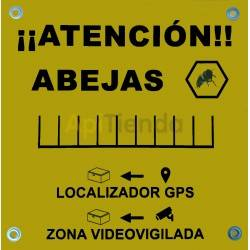 "Poster Notice"" Attention Bees"" and ""Videovigiled Zone"", Notice poster and deterred to top it off. 0.5 cm thick P.V.C. support Wi"