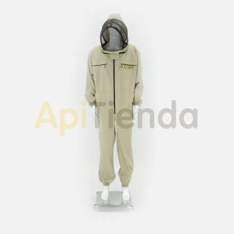 Vestuario Buzo apicultor careta inglesa  Color beige claro. Careta inglesa desmontable con doble tela, alta seguridad. Tela