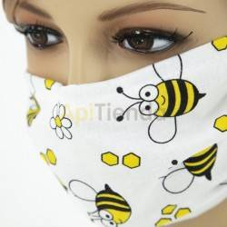 White protective mask with bees - reusable