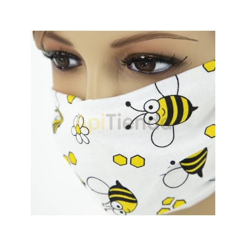 Máscara protectora blanca con abejas - reutilizable