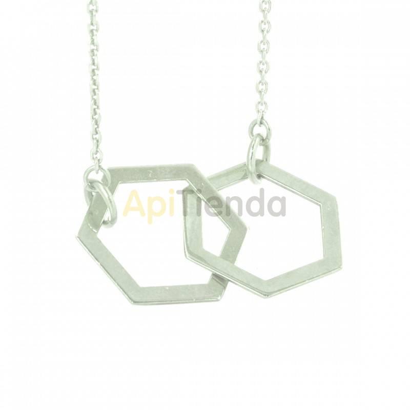 Belleza Colgante hexagonal - plata Collar fabricado en plata de ley 925 Diseño elegante y sutil, de dos hexágonos entrelazados.