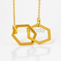 Collar hexagonal - plata color dorado