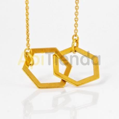 Belleza Colgante hexagonal - plata color dorado Collar fabricado en plata de ley 925, bañado en oro Diseño elegante y sutil, de