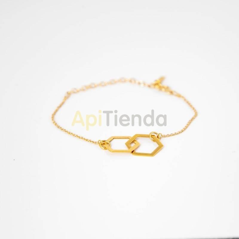 Belleza Pulsera hexagonal de plata - color dorado Pulsera fabricada en plata de ley 925, bañada en oro y cadena Diseño elegante