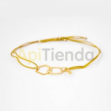 Belleza Pulsera hexagonal de plata - cuerda dorada Pulsera fabricada en plata de ley 925 bañada en oro, con correa ajustable de