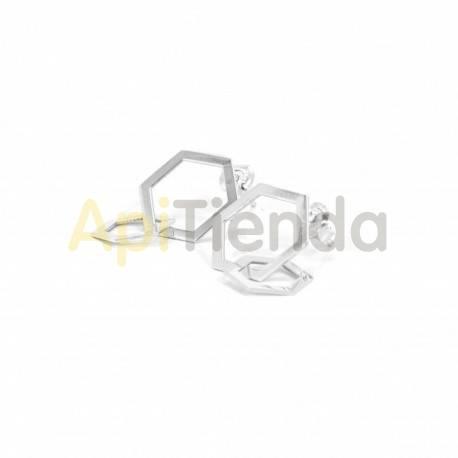 Belleza Pendientes de plata - trenzados, hexágonos Pendientes fabricados en plata de ley 925. Estupendos pendientes caracteriza