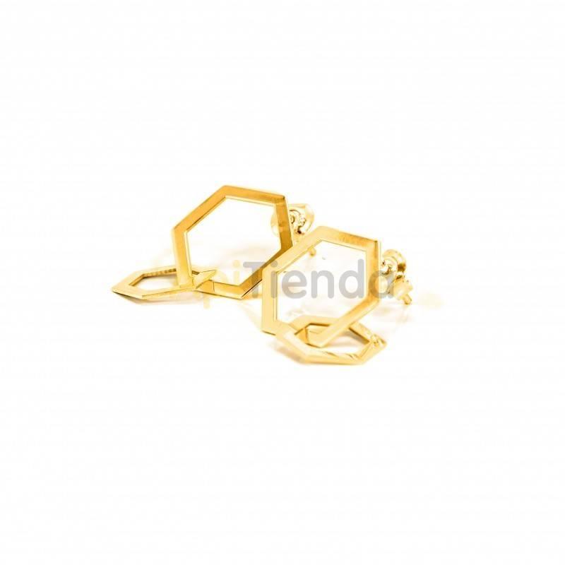 Belleza Pendientes de plata, color dorado - trenzados, hexágonos Pendientes fabricados en plata de ley 925, bañados en oro. Est