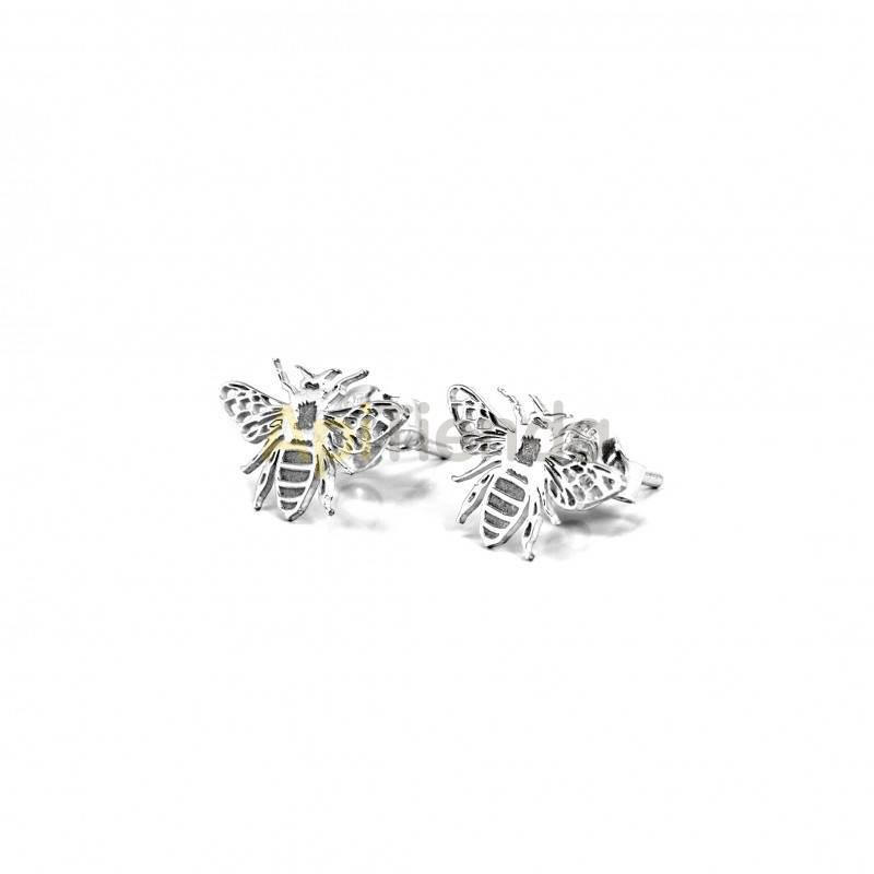 Belleza Pendientes abeja - plata Pendientes fabricados en plata de ley 925 Este maravilloso diseño muestra una abeja a todo det