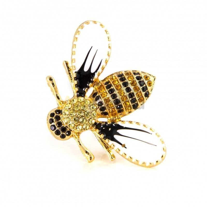 Belleza Broche - rosa de la mañana Broche con forma de abeja, decorado con piedras preciosas en tonos ámbar, negro y dorado, cre