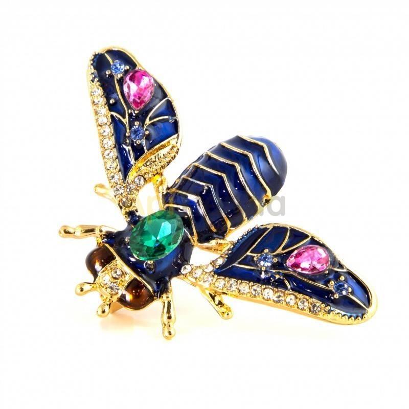 Belleza Broche - reina del prado Este broche con forma de abeja destaca por intenso azul marino, combinado con fucsia y verde za