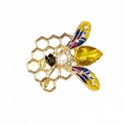 Belleza Broche - miel hexagonal Precioso broche de abeja en tonos dorados, ámbar, azules y pequeños matices en malva, decorado c